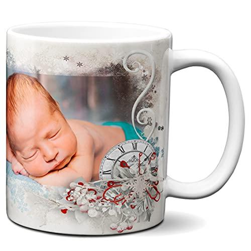 Spersonalizowany kubek ze zdjęciem - wykonany na zamówienie - spersonalizowany kubek - spersonalizowany kubek do kawy na zamówienie - motyw płatka śniegu - 325 ml ceramiczny kubek do herbaty