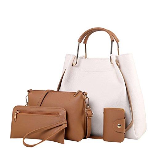 Anguang Damen Leder Handtaschen Set 4 teiliges Damen Handtaschenset Vintage Crossbody Tasche Handgelenktasche Weiß