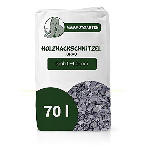 Holzhackschnitzel Grau Kiefer Holz Mulch Garten Grob 0-60mm 70l Sack