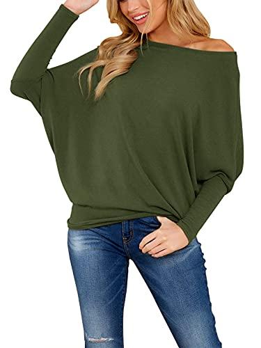 YOINS Blusa de manga larga con hombros descubiertos para mujer, con lentejuelas, estilo casual, holgado, para mujer, con un solo hombro