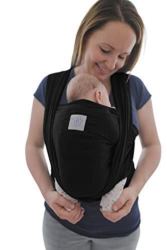 Babytragetuch mit Vordertasche inkl. Baby Wrap Carrier Tasche und Anleitung - langes elastisches Tragetuch für Früh- und Neugeborene Kleinkinder (Schwarz)