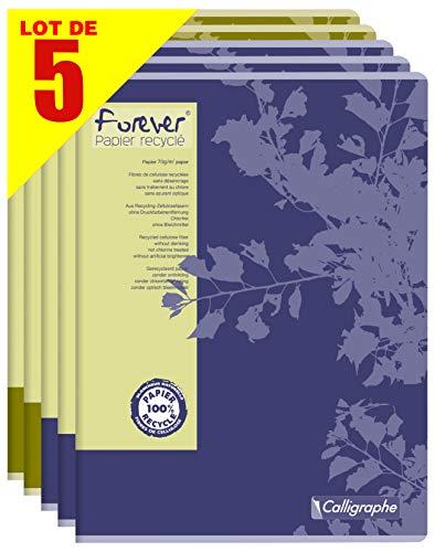 Forever by Clairefontaine 17493AMZC - Set di 5 quaderni trapuntati Calligrapho, 100% riciclato, 96 pagine, 24 x 32 cm, grandi quadretti 70 g, copertina in carta riciclata, colori assortiti