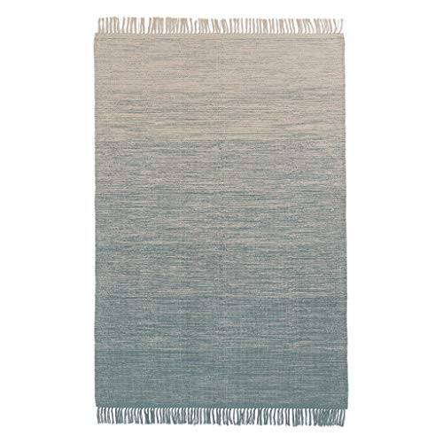 """URBANARA Teppich """"Ziller"""" – 170cm x 240cm, Grüngrau/Naturweiß, 100% Baumwolle"""