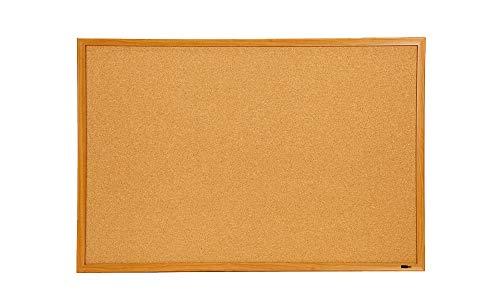 "INNOVART Cork Bulletin Board 36"" X 24"" with 10 Push Pins, Corkboard with Oak Wood Frame, Cork Notice Board for Home, Office, School"