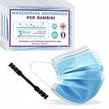 50 Mascherine Chirurgiche per Bambini Certificate + 2 Ear Saver, Prodotte in Italia, Medicali di Tipo II, Tre Comodi Strati di Protezione in TNT, Blu
