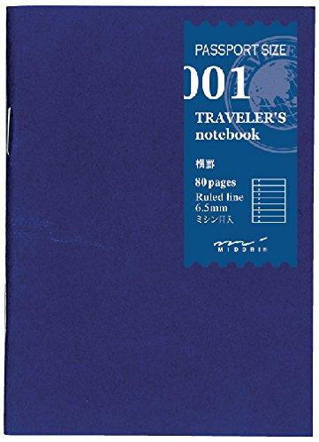 Midori liniertes Notizbuch Nachfüllpackung Midori 001 für Traveler's Notebook Reisepass-Größe