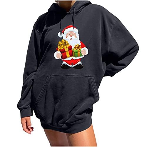 Sudadera con capucha para mujer, cálida, con cordón, para adolescentes, niñas, con bolsillos, holgada, manga larga, con capucha, para exteriores, con estampado navideño, Gris oscuro., L
