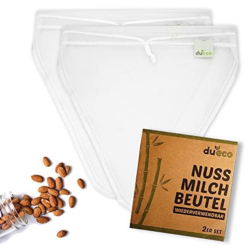 DuEco Nussmilchbeutel mit 2 Stück V-form 28 x 30 cm für Bio Nussmilch & Pflanzenmilch - Mehrzweck Passiertuch für hausgemachten Käse, Obstsaft und Gemüsesaft