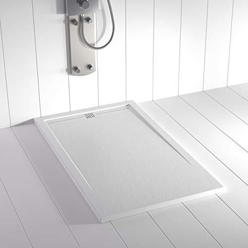 Shower Online Plato de ducha Resina FLOW - 80x150 - Textura Pizarra - Antideslizante - Todas las medidas disponibles - Incluye Rejilla Color Blanco y Sifón - Blanco RAL 9003