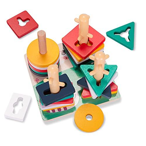 YGJT Juguetes de Madera 1 Año, Juguetes Montessori 1 Año Apilador Geométrico de Madera, Juegos Educativos Niños Niñas para Apilar y Clasificar, Perfecta Regalo de Cumpleaños, Navidad y Año Nuevo