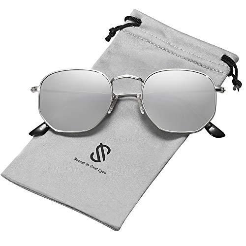SOJOS Mode Polygon Sonnenbrille Damen Herren Verspiegelte Linse Leichte Unisex Brille SJ1072 mit Silber Rahmen/Silber Linse