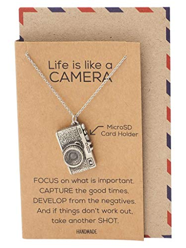 Quan Jewelry Mini Camera Pendant Necklace, Photography Gifts, Micro SD Card Holder, 100% Handmade with Inspirational Greeting Card Arkansas