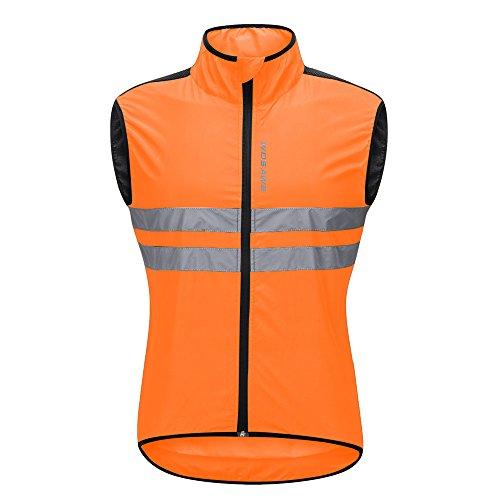 WOSAWE Hombres Ropa Ciclismo, Transpirable Chaqueta de Ciclismo Cortavientos Alta Visivilidad Chaleco Reflectante de MTB (BL205 Chaleco Naranja M)