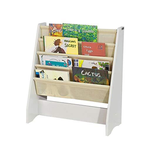 SoBuy Libreria,Portariviste a Terra, scaffale per riviste, 4 Scomparti,FRG225-W,IT