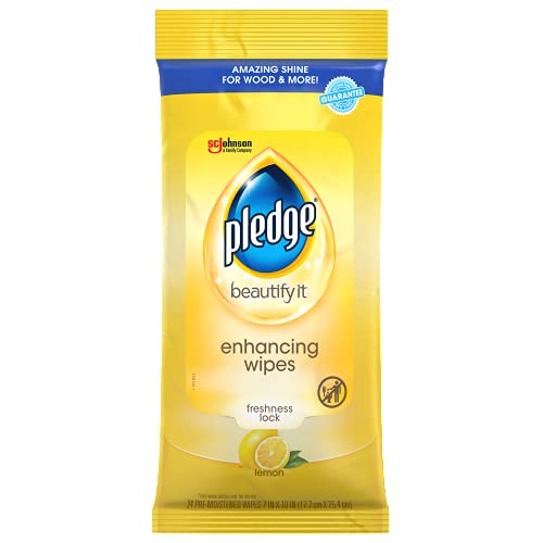 Pledge Multi-Surface Furniture Polish Wipes, Works on Wood, Granite, and Leather, Cleans and Protects, Lemon (24 Total Wipes)