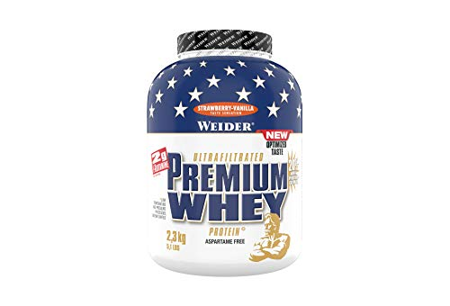 Weider Premium Whey Proteinpulver, Low Carb Proteinshakes mit Whey Protein Isolat, Erdbeer-Vanille,  (1x 2,3 kg)