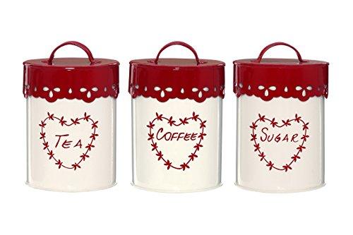 Premier Housewares Tee, Kaffee-und Zuckerdose mit Lochstickereimuster, 3 St&uumlck, cremefarben&nbsp/&nbspRot, Pulverbeschichtetes Metall, rot, 11x11x14
