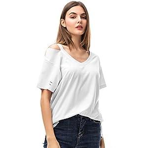 MessBebe Camisetas Mujer Manga Corta Camisas Mujer T Shirt Polo Off Shoulder Blusas Verano V Cuello Top Camisetas de…   DeHippies.com