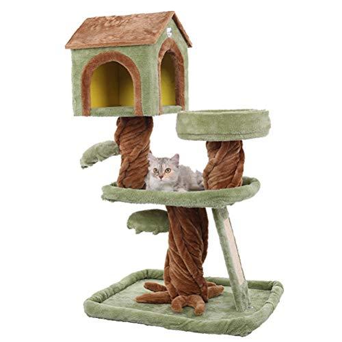 HDDFG Suministros para Mascotas Escalada de Gatos Nido de Gato de Madera Grande de Lujo Integración de árbol de Gato Casa de Pilar del Cielo