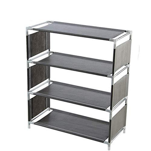 Belleashy Zapatero multifuncional para organizar el hogar para el hogar, sala de estar, balcón (tamaño: como se muestra; color: cuatro capas gris)