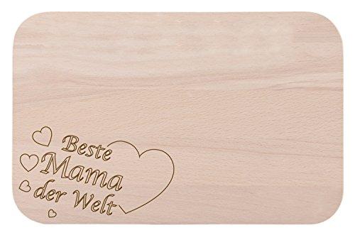 Tabla para servir el desayuno, de madera, con grabado de texto en alemán Beste Mama der Welt, ideal como regalo de cumpleaños o Navidad
