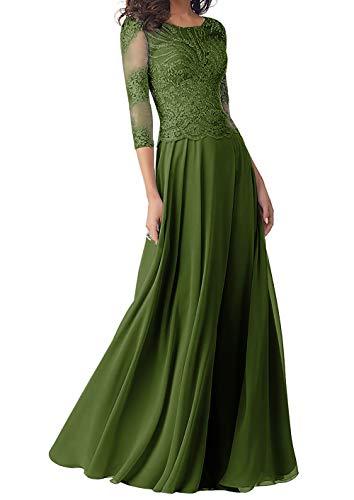 Abendkleider Lang Brautmutterkleider Langarm Spitze Hochzeitskleid Ballkleider A-Linie Chiffon Festkleider Grün 54