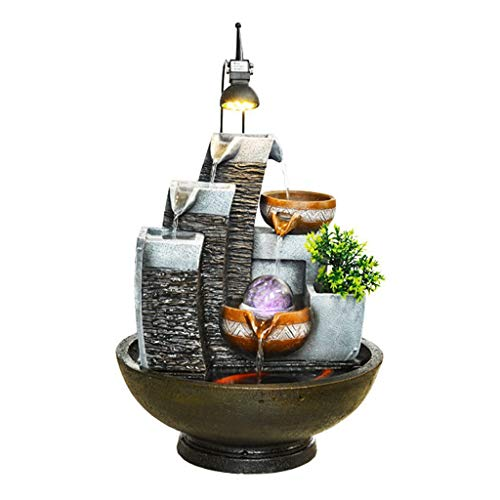 Fuente decorativa Fuente calmante de interior Cascada de escritorio de tres pisos Bomba automática de sonido calmante y cuentas giratorias Pueden alimentar peces pequeños y plantas Fente cascada