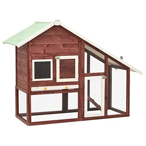 Tidyard Conejera de Madera Maciza de Abeto Jaula para Animales Pequeños Casa para Conejos Moca y Blanco 140x63x120 cm