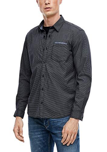 s.Oliver Herren Regular: Hemd aus Baumwoll-Popeline black check L