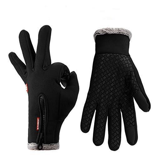 Lzfitpot Unisex Winterhandschuhe Touchscreen Warm Fahrradhandschuhe,Wasserdicht, Winddicht & rutschfest, Schwarz, Gr.- XL