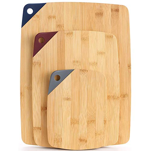 Bamboo Cutting Board Set [3Piece] - CHASUNG Wooden Cutting Board with Non-Slip Silicone Grip&Elegant Gift for Chefs - Chopping Board for Meat Cheese and Fruit Vegetables