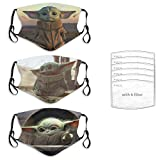 The Mandalorian Baby Yoda - Protector facial para adultos (3 piezas, con 6 filtros, ajustable, antipolvo, reutilizable, lavable
