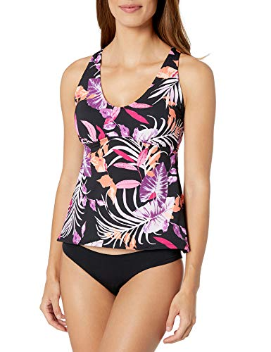 24th & Ocean Women's Scoop Neck Tankini Swimsuit Top, Orchid//Jungle Tropic, L