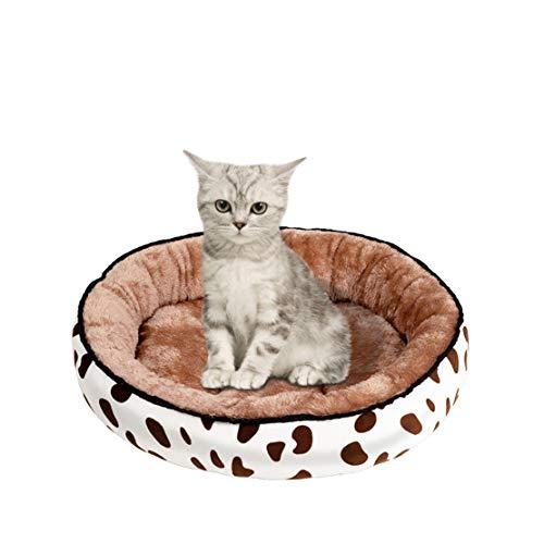 Kussen voor katten honden, pluche ronde huisdiernest pluche comfortabel katten- en hondenkussen bed pluche hondenholle ronde winter kleine honden katjes roze hondensofa