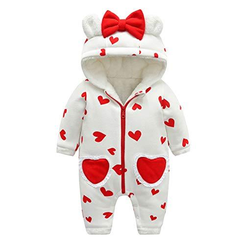 Premewish Neugeborenes Baby Overall Mädchen Jungen Winter Warme Strampler mit Kapuzen Fleece gefüttert Jumpsuit Kleinkind für 0-18 Monate Babys