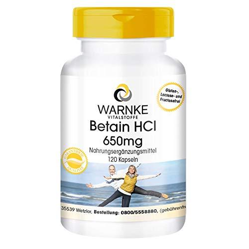 Betain HCl 650mg - hochdosiert - Betain Hydrochlorid - 120 Kapseln - vegan