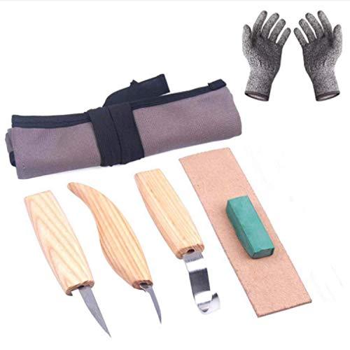 yiteng カービングナイフ 彫刻刀 彫刻 木彫 木製スプーン? 伝統工芸 DIY工具 6本セット?収納袋・手袋付き ウッドカービング 個人趣味 初心者