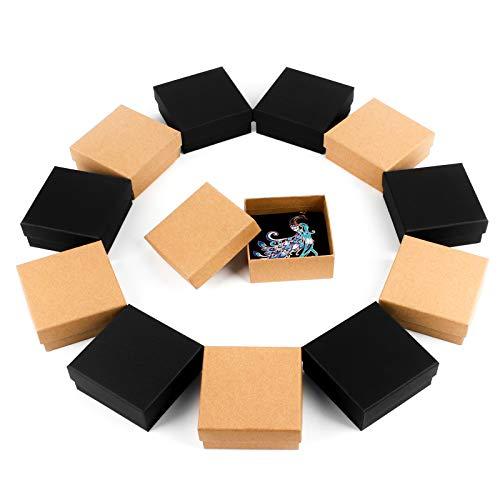 Cajas de Regalo de Papel Kraft Joyero de Cartón 12 Piezas de Joyas Caja Cuadrada de Papel Kraft, Caja de Almacenamiento DE Papel Kraftcon Esponja para Anillo Collar Aretes