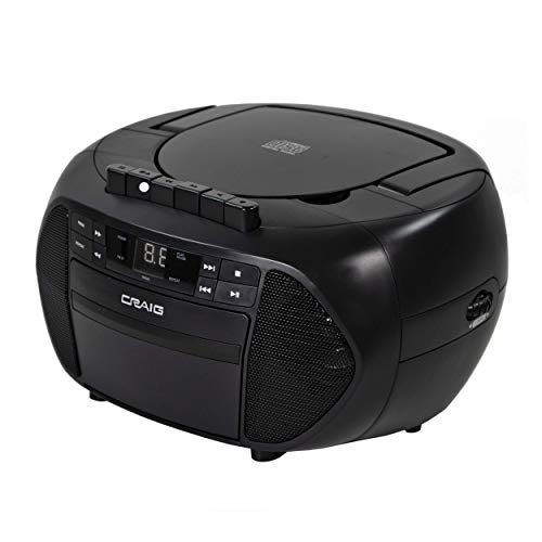 Craig CD6951 Portable Top-Loading CD Boombox with AM/FM Stereo Radio and Cassette Player/Recorder in Black   6 Key Cassette Player/Recorder   LED Display   (Renewed)