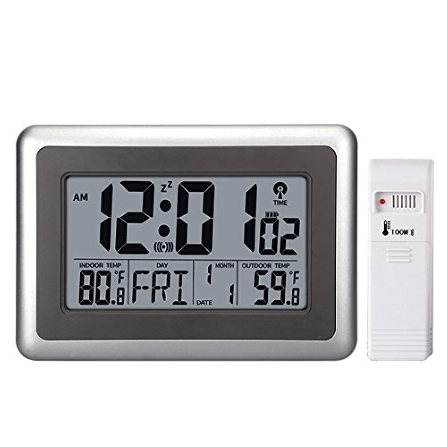 UMEXUS Atomic Wall Desk Clock Large Display with Indoor Outdoor Temperature Date Calendar Digital Alarm Clock Battery Operated for Kitchen Bedroom