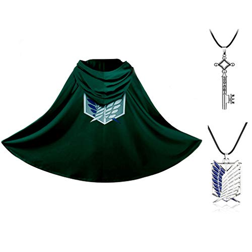 LOOVEE Attack on Titan Cosplay Mantel Manga Karneval Party Kostüm Halloween Weihnachten Shingeki No Kyojin Cosplay Umhang Mantel Kostümjacke für Herren Damen Teenager Erwachsene (1,S)