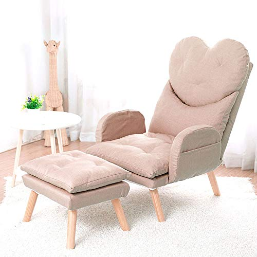 WyaengHai Sofa, moderne stoel, ligstoel, kruk, woonkamer, meubeldecoratie, betonnen stoel met massief houten poten Eén maat kaki
