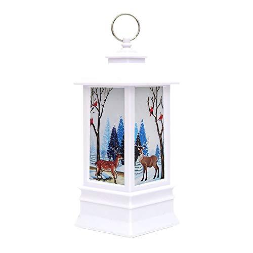 Luz de Navidad con luz LED, decoraciones de Navidad luz linternas de Navidad lámpara de llama con luz cálida Navidad colgantes adornos para decoración de fiesta (alce)