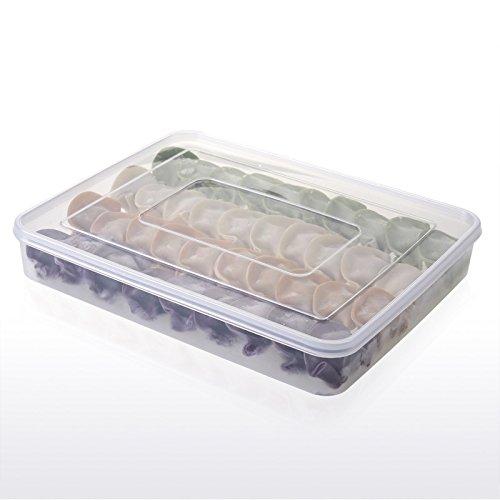 Contenedores de almacenamiento de alimentos,Refrigerador apilable Refrigerador Congelador Caja de almacenamiento Pila Contenedor de alimentos Bandeja Organizador