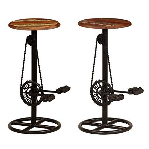 Festnight Barstühle 2 STK. | Industrial Barhocker | Vintage Tresenhocker | Barstuhl 2er Set | Küchenhocker | Recyceltes Massivholz und Stahl 38 x 76 cm