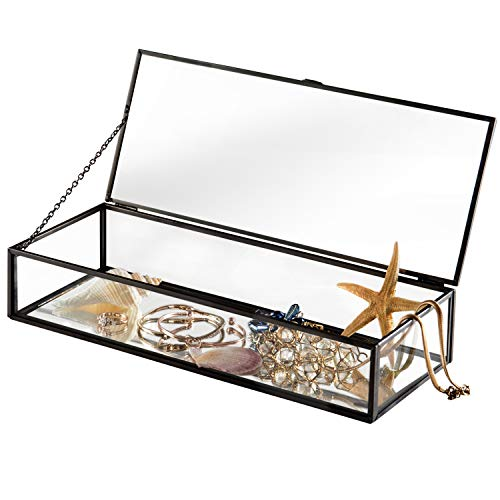 Vintage Style Black Metal & Clear Glass Mirrored Shadow Box Jewelry Display Case w Hinged Top Lid