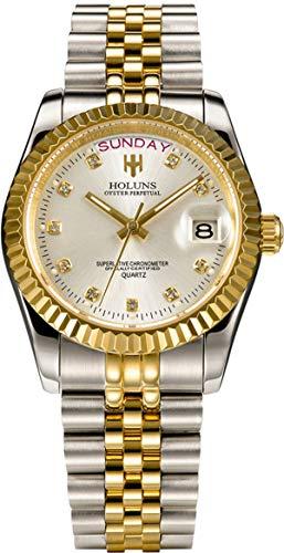 Loluka Herren Uhr Analog Quarz Edelstahl Armband Gold Datum Luxus Mode Elegant Design