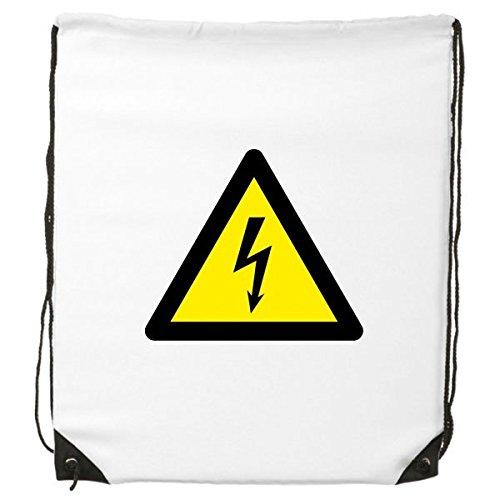 Advertencia símbolo amarillo negro descarga eléctrica triángulo Mark Logo avisos cordón mochila...