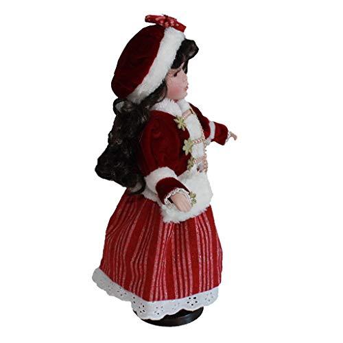 Toygogo - Bambole in porcellana stile vintage, 40 cm, con cappello rosso