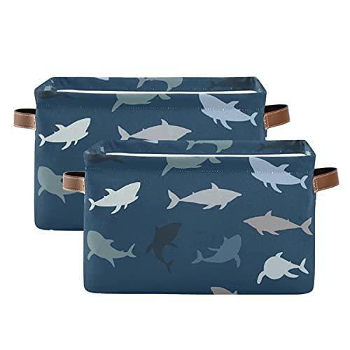 Cubo de almacenamiento con asas, divertido tiburón, peces azules, juguetes de almacenamiento, océano, mar, grande, plegable, rectangular para estantes, armario, dormitorio, cuarto de baño y cocina